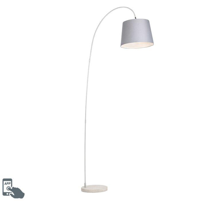 Lámpara-de-arco-acero-pantalla-tela-gris-bombilla.WiFi-A60---BEND