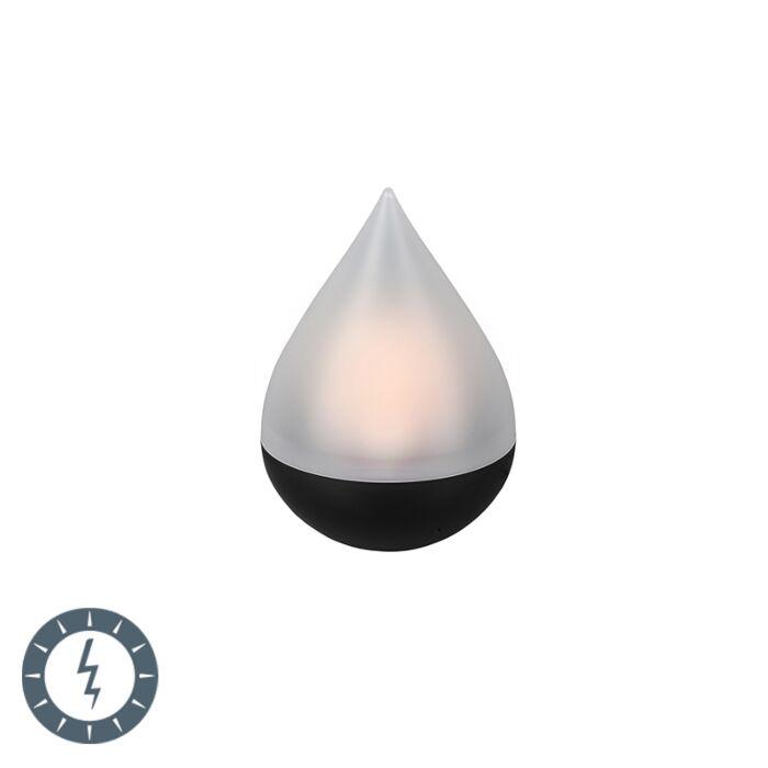 Lámpara-de-mesa-negra-efecto-llama-LED-solar-IP44---CALERO