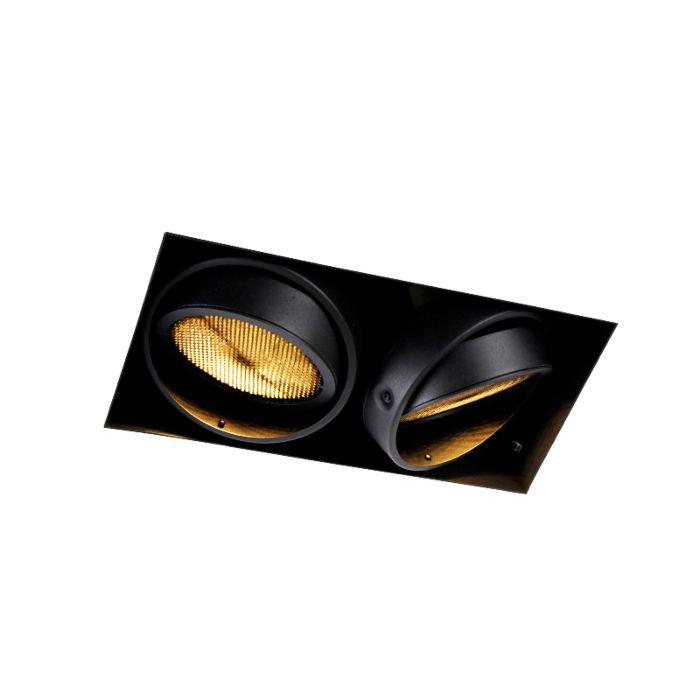 Foco-empotrado-negro-2-luces-GU10-AR111-sin-marco--ONEON-Honey