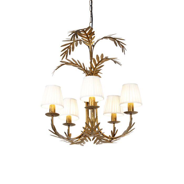 Lámpara-de-araña-oro-pantalla-pinza-plisada-crema-5-luces---BOTANICA