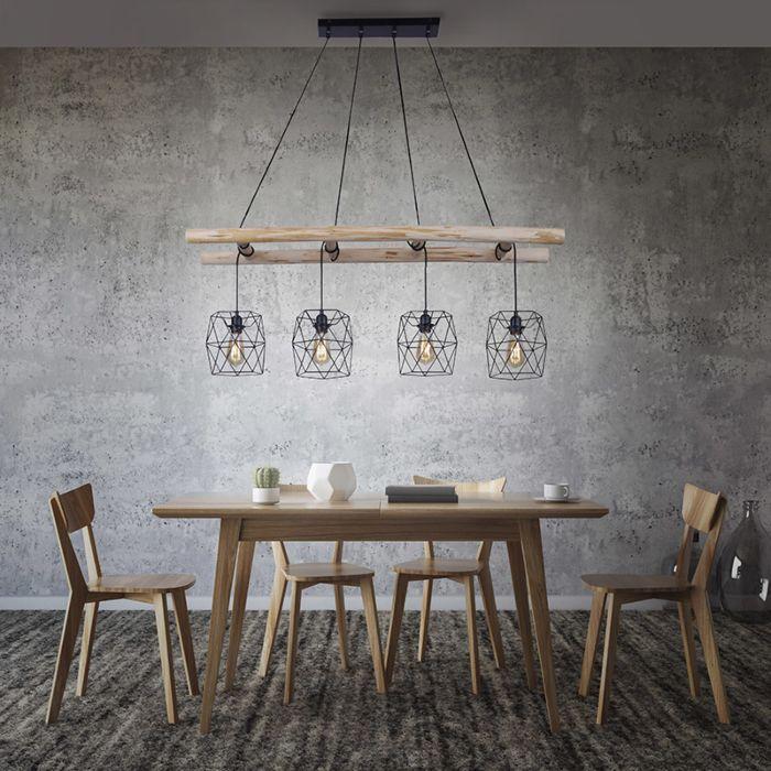 Lámpara-colgante-industrial-negra-madera-4-luces---MEDIENA