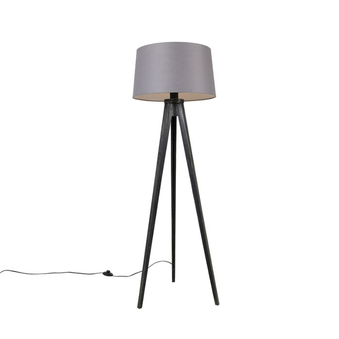 Tripod-zwart-met-linnen-kap-Donkergrijs-45-cm---Tripod-Classic