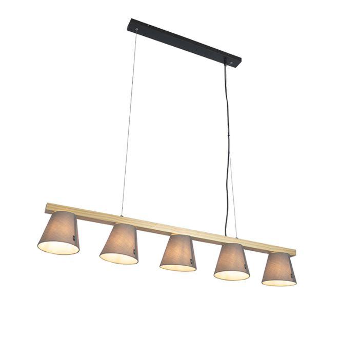 Lámpara-colgante-rústica-madera-gris-5-luces---CUPY