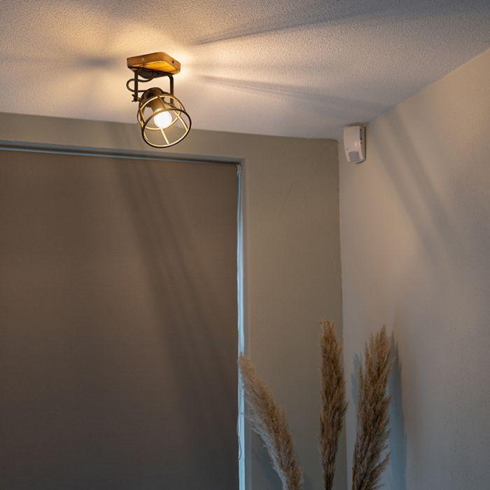 Foco-industrial-negro-madera-orientable-1-luz---ARTHUR