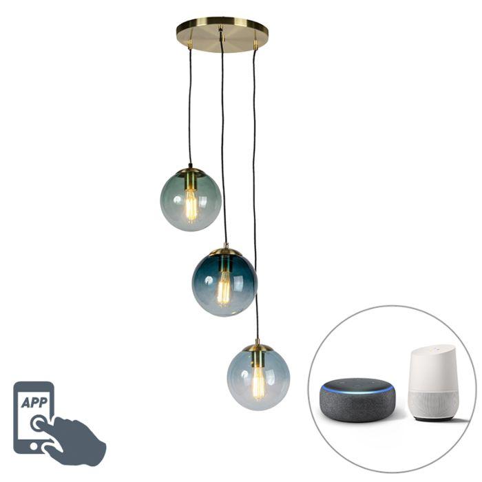 Lámpara-colgante-latón-cristal-azul-3-bombillas-WiFi-ST64---PALLON