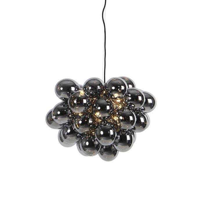 Lámpara-colgante-Art-Deco-negra-cristal-ahumado-8-luces---UVAS