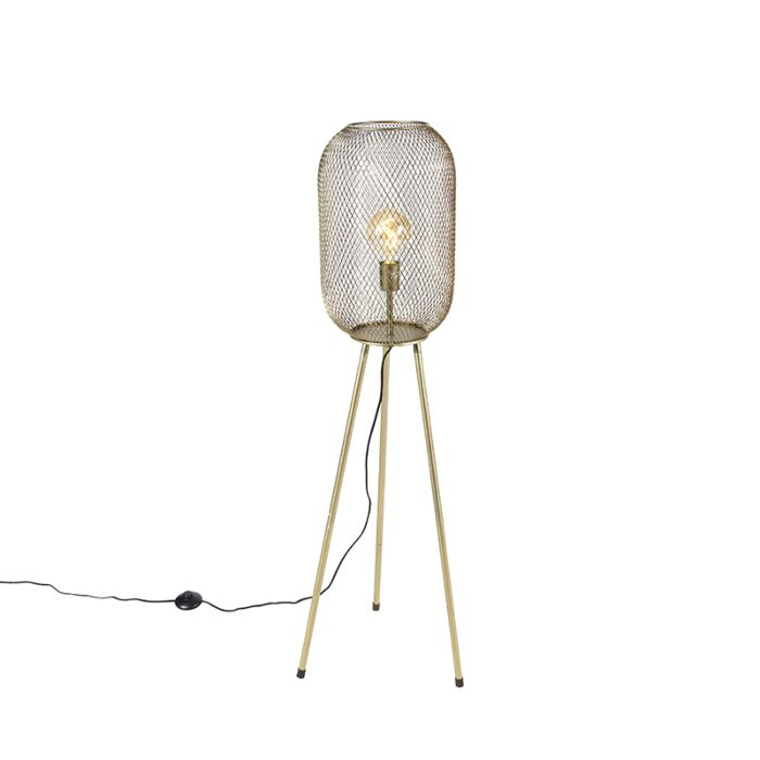 Lámpara-de-pie-moderna-trípode-latón---WAYA-Mesh