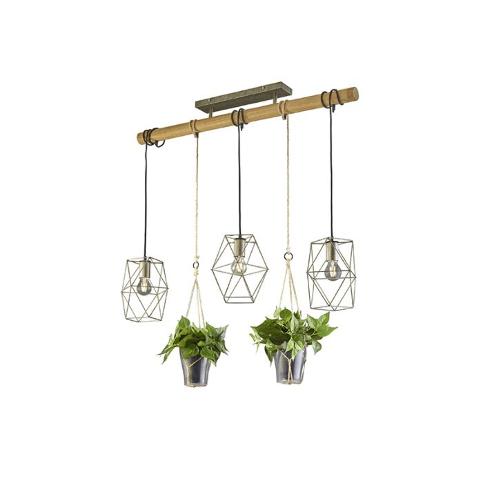 Lámpara-colgante-rústica-acero-madera-3-luces---SARAH