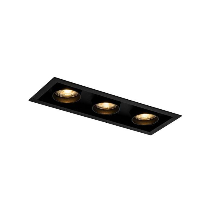 Foco-empotrado-moderno-negro-orientable-3-luces---ROOF