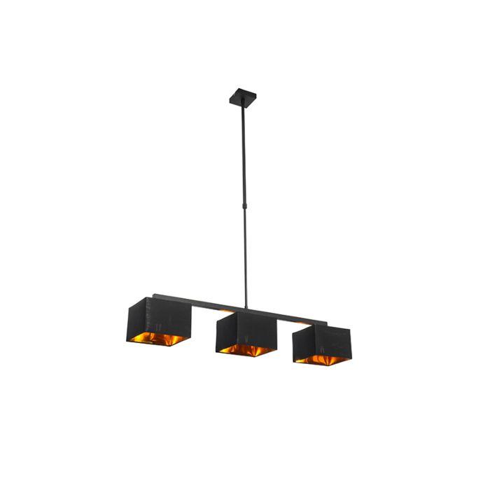 Lámpara-colgante-moderna-negra-con-oro-88cm-3-luces---VT-3