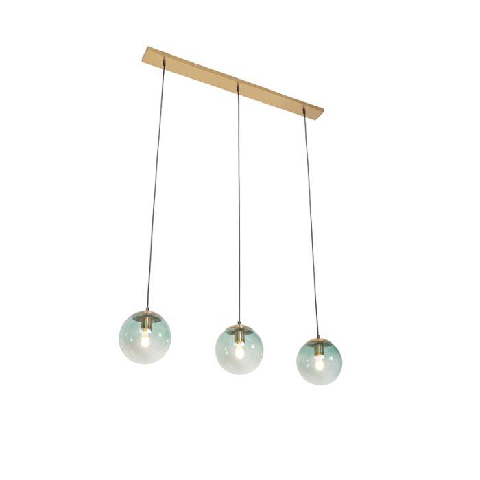 Lámpara-colgante-Art-Déco-latón-vidrio-verde-3-luces---PALLON-Mezzi