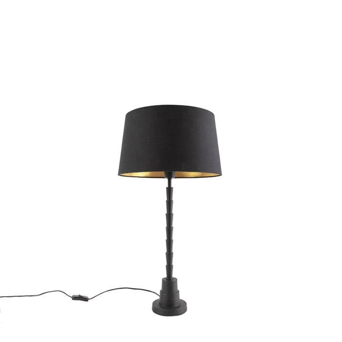 Lámpara-de-mesa-Art-Deco-negra-pantalla-algodón-negro/oro-35cm---PISOS