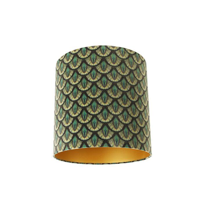 Pantalla-terciopelo-diseño-pavo-real-40/40/40-dorado-en-el-interior