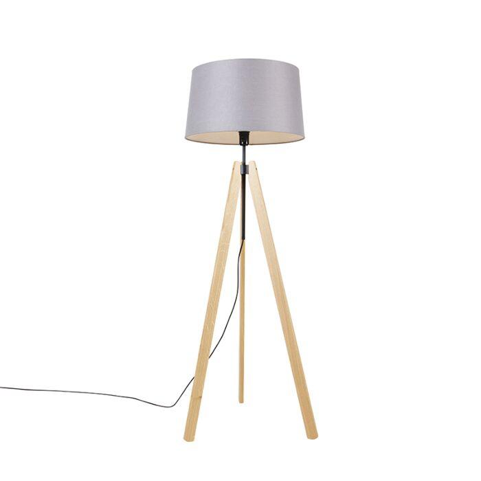 Vloerlamp-tripod-hout-met-linnen-kap-donkergrijs-45-cm---telu
