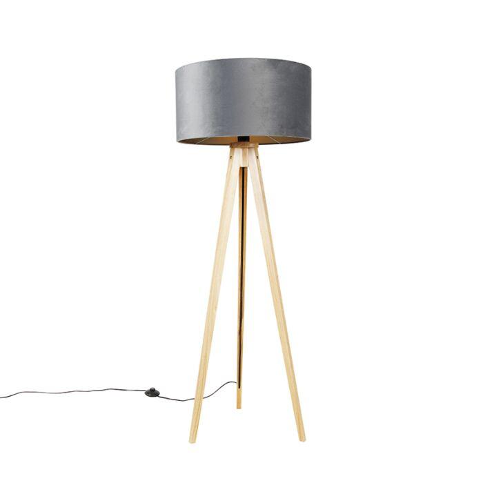 Lámpara-de-pie-madera-con-pantalla-de-tela-gris-50-cm---Tripod-Classi