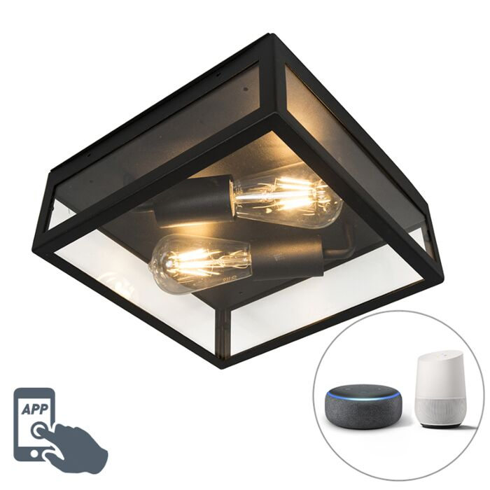 Lámpara-de-techo-industrial-negra-2-WiFi-ST64-IP23---ROTTERDAM