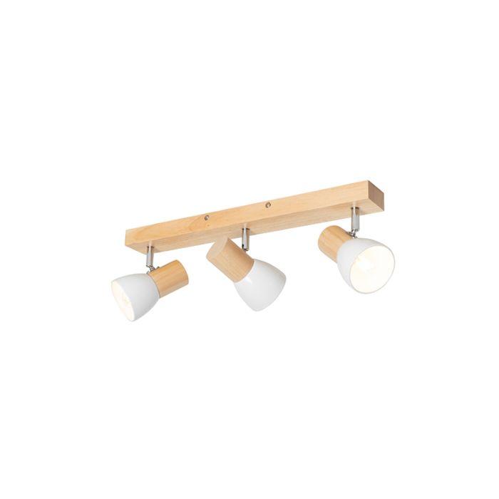 Lámpara-de-techo-madera-blanco-orientable-3-luces---THORIN-