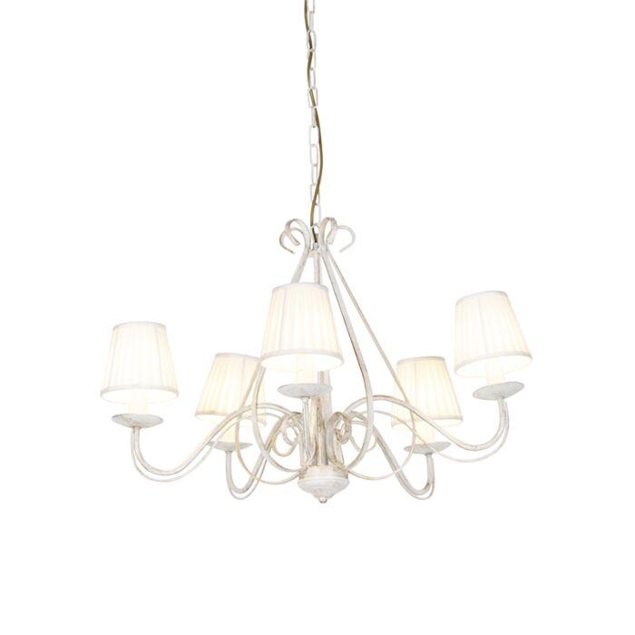 Lámpara-de-araña-blanca-pantallas-plisadas-crema-5-luces---GIUSEPPE