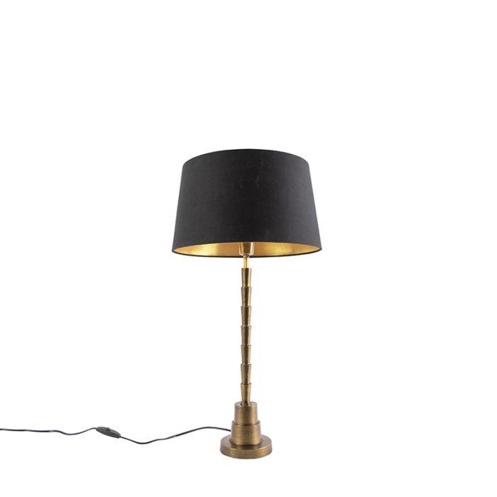 Lámpara-de-mesa-Art-Deco-bronce-pantalla-algodón-negro-35cm---PISOS