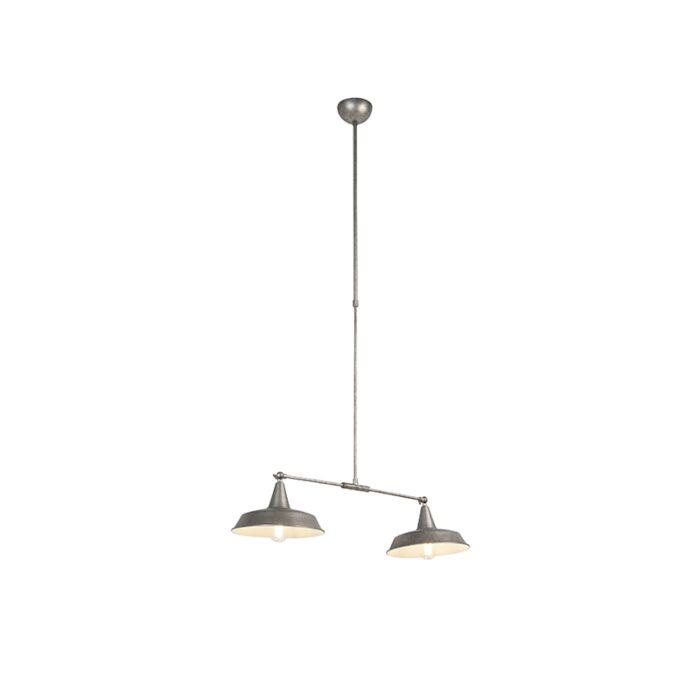 Lámpara-colgante-industrial-plateada-altura-ajustable-2-luces---VICI