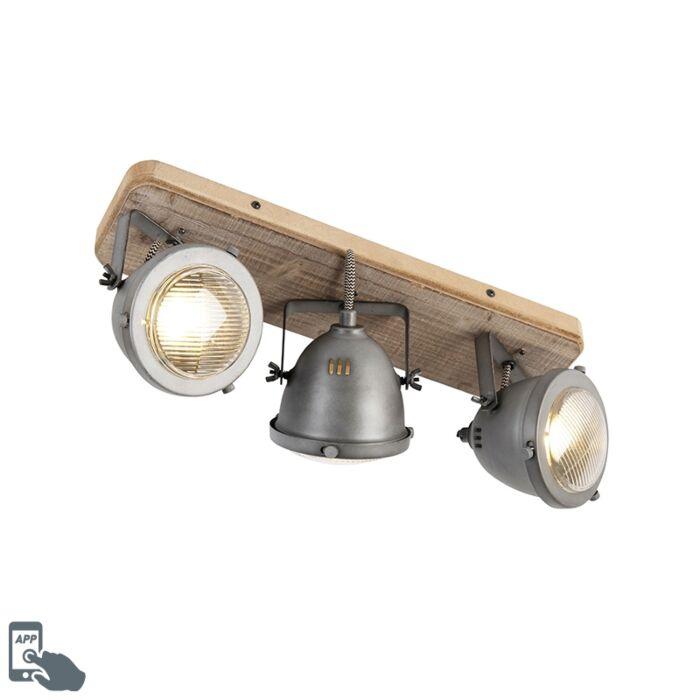 Lámpara-de-techo-acero-madera-orientable-3-bombillas-WiFi-GU10---EMADO