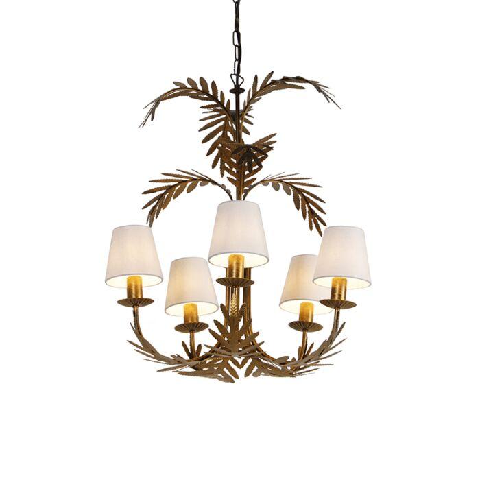 Lámpara-de-araña-oro-pantallas-blancas-5-luces---BOTANICA