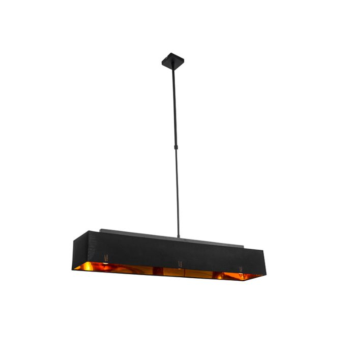 Lámpara-colgante-moderna-negra-con-oro-90-cm-3-luces---VT-1