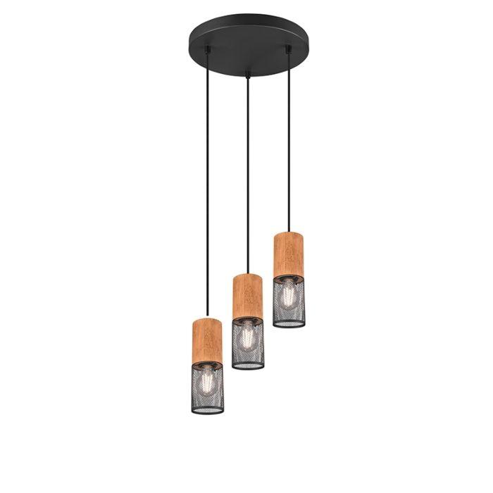 Lámpara-colgante-industrial-negra-madera-3-luces---MANON