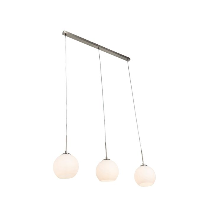 Moderne-ronde-3-lichts-hanglamp-staal---Eloy