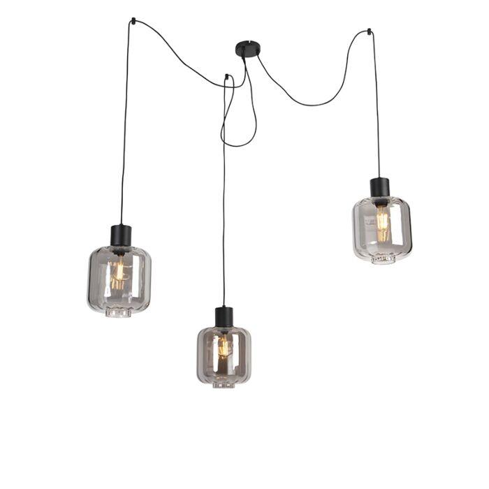 Lámpara-colgante-diseño-negra-cristal-ahumado-226cm-3-luces---QARA