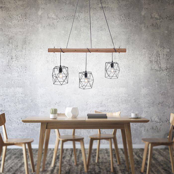 Lámpara-colgante-industrial-negra-madera-3-luces---MEDIENA