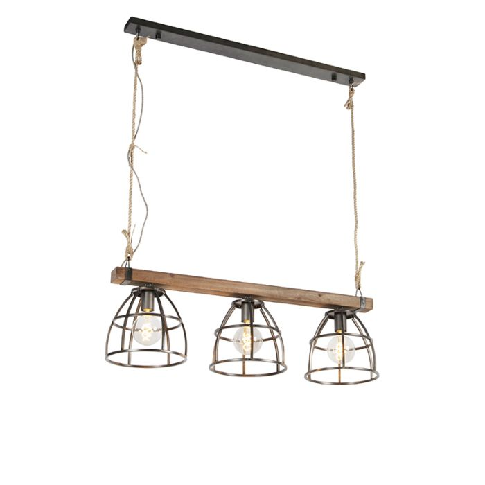 Lámpara-colgante-industrial-negra-madera-3-luces---ARTHUR