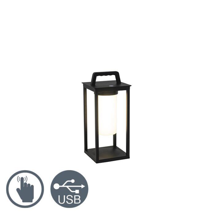 Moderne-buitenlamp-zwart-incl.-LED-oplaadbaar---Denlu