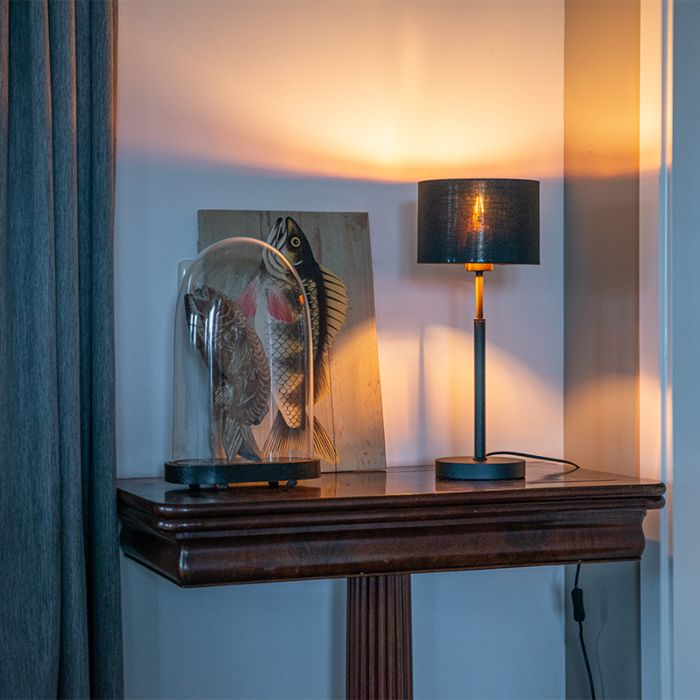 Lámpara-de-mesa-moderna-negra-pantalla-negra-oro---VT-1