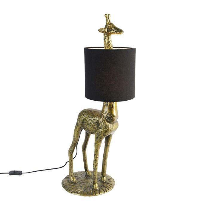 Lámpara-de-pie-vintage-latón-pantalla-negra---GIRAF-TO