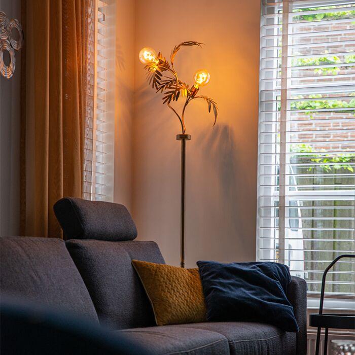 Lámpara-de-pie-vintage-dorada-2-luces---BOTANICA
