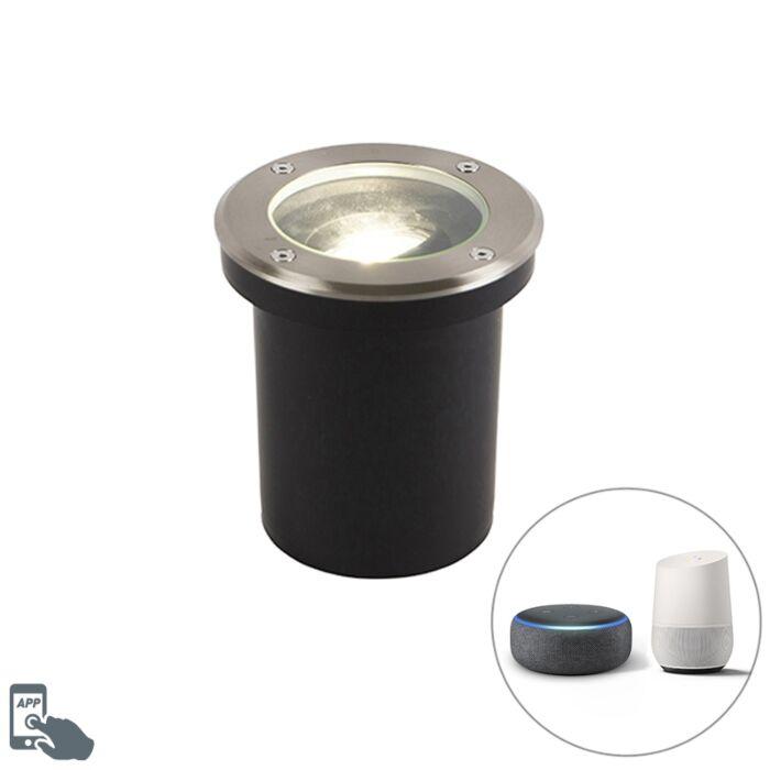 Foco-de-suelo-acero-inoxidable-bombilla-WiFi-GU10-IP65---DELUX