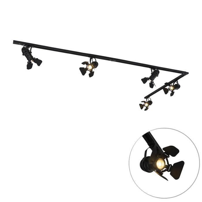 Sistema-de-carril-monofásico-industrial-negro-5-luces---MOVIE