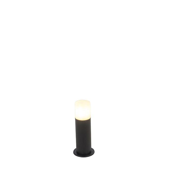 Baliza-negra-pantalla-opal-blanca-translúcida-30cm-IP44---ODENSE