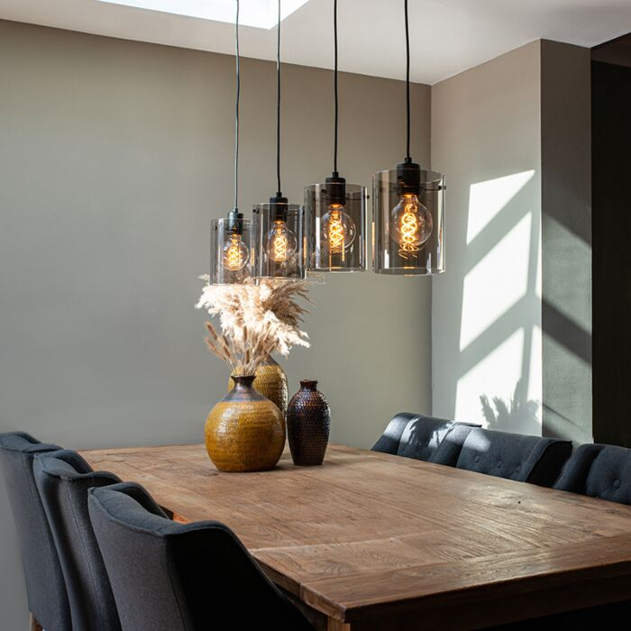 Lámpara-colgante-diseño-negra-cristal-ahumado-4-luces---DOME