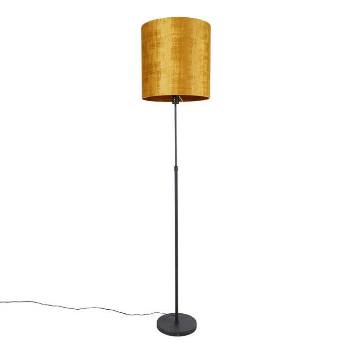 Lámpara-de-pie-negra-pantalla-dorada-40cm-ajustable---PARTE
