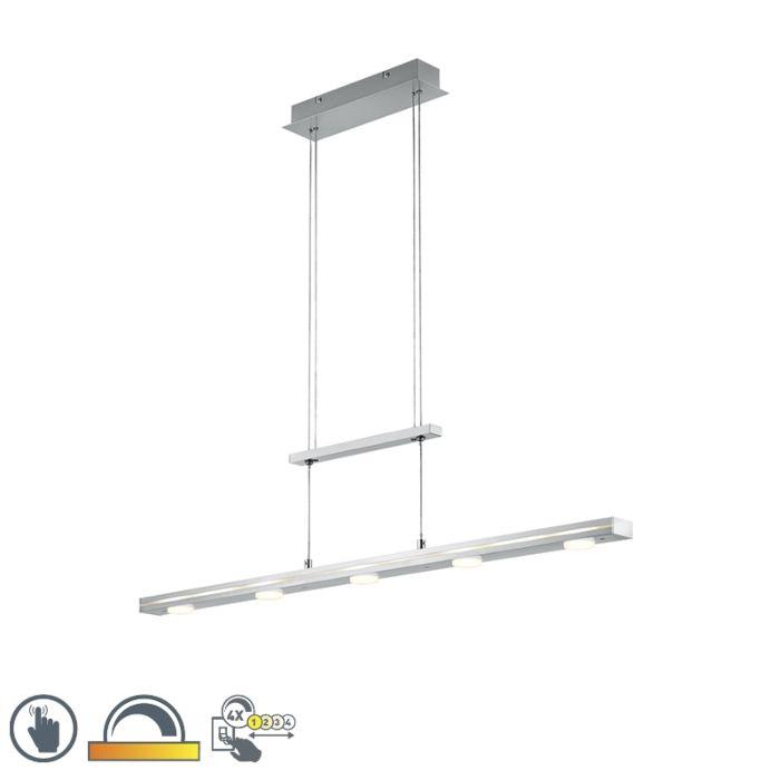 Lámpara-colgante-acero-regulable-3-estados-táctil-5-luces-LED---SANNE