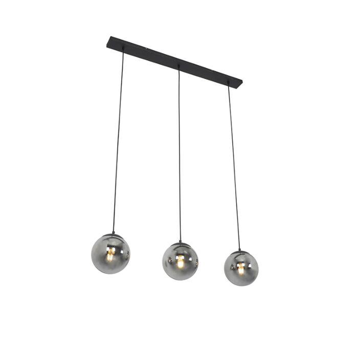 Lámpara-colgante-Art-Déco-negra-vidrio-ahumado-3-luces---PALLON-Mezzi