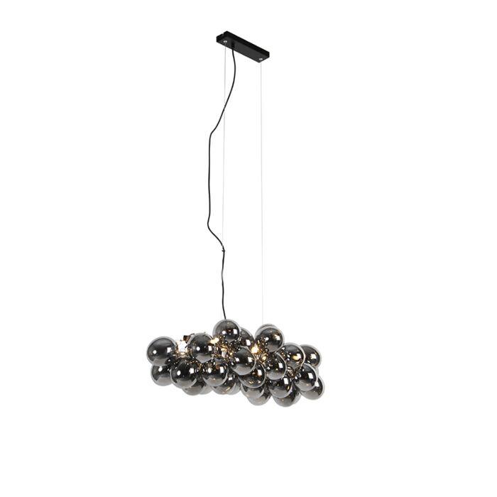 Lámpara-colgante-Art-Deco-alargada-negra-cristal-ahumado-8-luces---UVAS