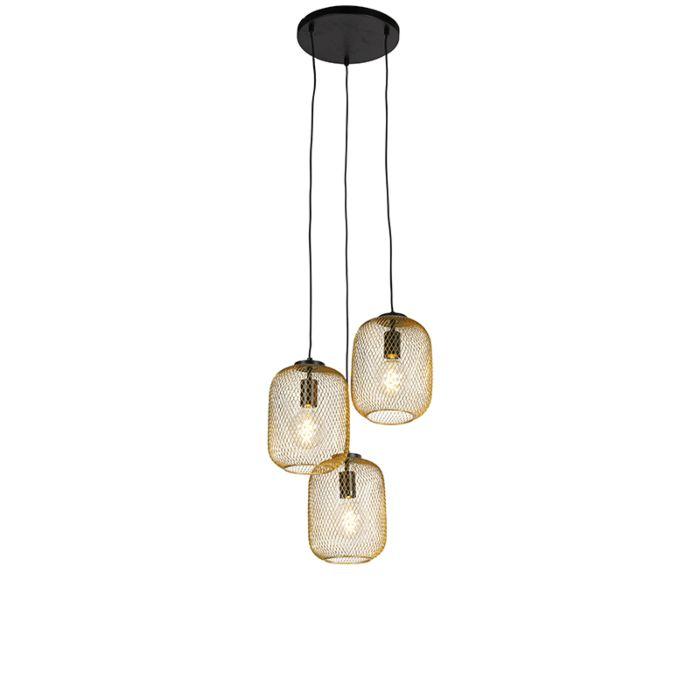 Lámpara-colgante-Art-Déco-dorada-45cm-3-luces---BLISS-Mesh