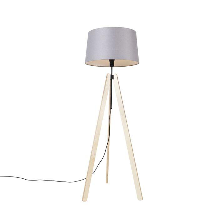 Lámpara-de-pie-moderna-madera-pantalla-lino-gris-oscuro-45cm---TELU