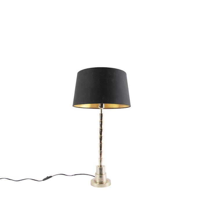 Lámpara-de-mesa-Art-Deco-dorada-pantalla-algodón-negro/oro-35cm---PISOS