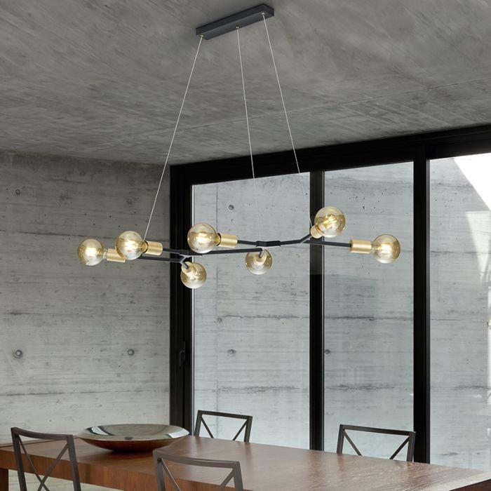 Lámpara-colgante-diseño-negra-7-luces-doradas---DIRK