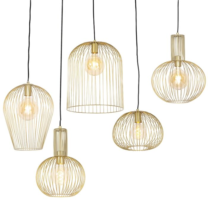 Set-de-5-lámparas-colgantes-diseño-oro---WIRES