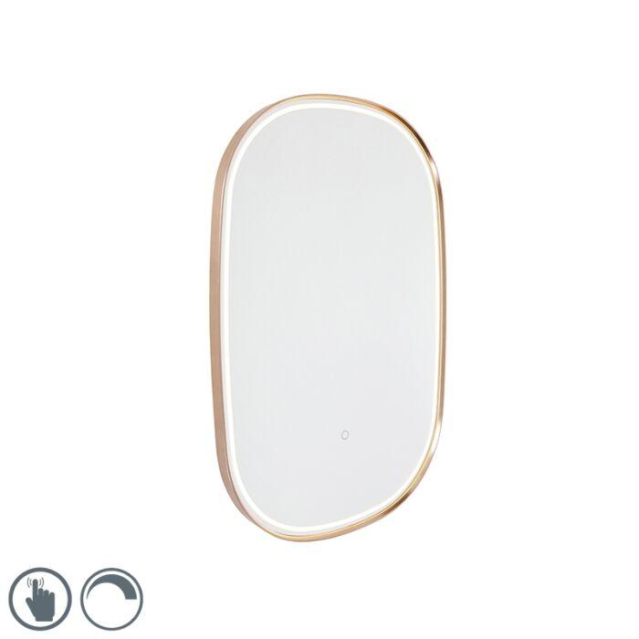 Espejo-de-baño-cobre-LED-táctil-ovalado---MIRAL